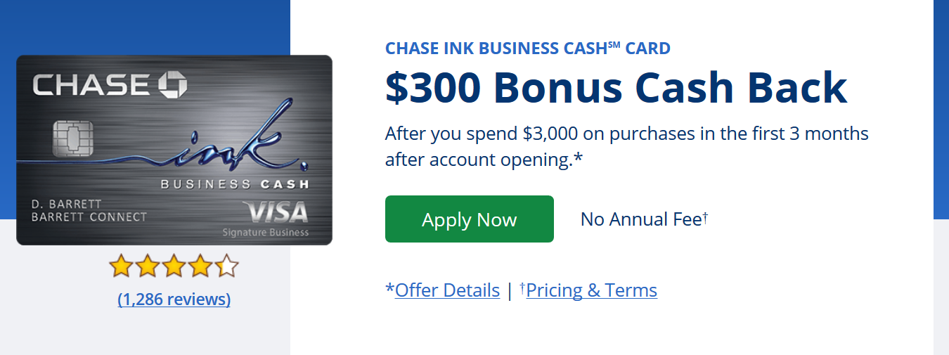 January 2018 rentier chase ink business cash 300 bonus cash back after you spend 3000 on purchases in the first 3 months after account opening reheart Choice Image